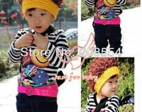 Retail 2pcs/lot children boy pure cotton yarn wig cap hat children boy girl autumn winter hat cap d19