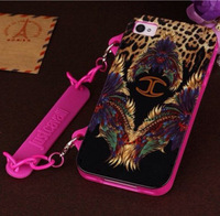 Newest Design Fashion Brand Skin JustCavalli Soft TPU Leopard Pure Metal Chain Handbag Case for iphone 4 4g 4s 5G 5S