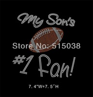 DHL Free Shipping 40pcs\Lot Custom My son's #1 fan football hotfix rhinestone heat transfers design
