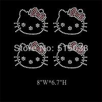 DHL Free Shipping 45pcs\Lot Hello Kitty hotfix rhinestone heat transfers design