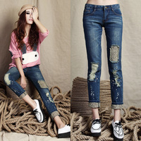 Hot New Female Ladies Leopard Brand Jeans Woman Print Sexy Slim Worn Hole Out Pencil Denim Jeans Pants Trousers 6 Sizes Retail