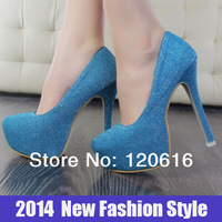 woman pumps BLUE bottom high heels 14CM ladies wedding shoes women genuine leather shoes platforms & wedges SC46