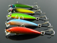 Hot 10pcs free shipping 5 color  55mm fishing lures 5.5CM 3.6G 8# hooks small classic plastic hard baits,Minnow (MI004) lures