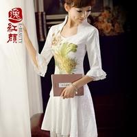 White vintage lace cheongsam summer long-sleeve autumn cheongsam dress