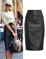 Free Shipping 2014New FashionBrand Customized High Quality Plus Size Hot Sale Women Zipper Stitching PULeather Pencil Midi Skirt