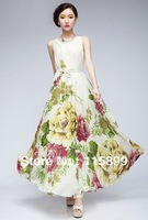 free shipping 2014 Elegant elegant victoria summer women dress print bohemian floor-length high quality sexy fashion famous