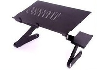 Free Shipping 14 INCH  42X26CM Aluminium Black Laptop Table Folded Computer Desk  with Heat-Out  Hole Only with Mouse Pad