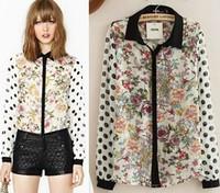 2014 new fashion autumn winter block Polka Dot Slim tops black collar cardigan blouse print splice patchwork women shirt S,M,L
