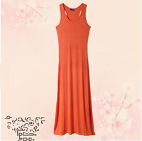 2014 bohemia sundress solid color full dress summer plus size fashion vest one-piece dress free shipping