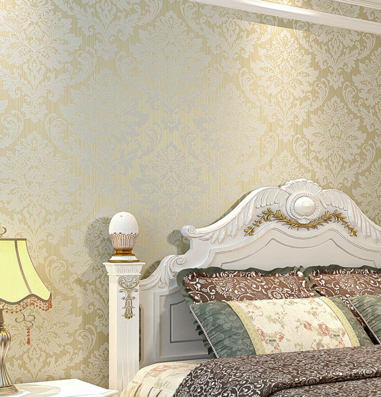 Cream damask wallpaper reviews online shopping cream for Gold bedroom wallpaper