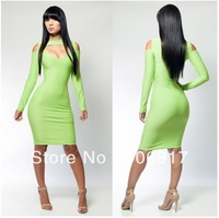 Hot Sexy Dress 2014 Lady Dress Hollow Cut Out Front Off the Shoulder Long Sleeve Clubwear Women Dress