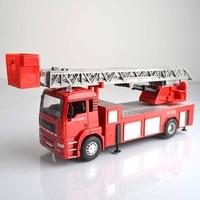 Alloy fire engine engineering car fire ladder truck car model toy gift