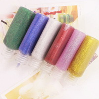 12PCS/LOT,6 color washable glitter glue,Environmentally non-toxic,Craft material,DIY tools.Safe glue,22 milliliter per bottle