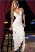 2014 NEW excellent quality, elegant fashion SEXY dew shoulder maxi long dress with black/white color,free shipping