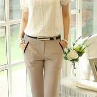 New 2014 free shipping leisure women trousers haroun pencil pants spring autumn Capris Korea edition OL thin leg with belt S~4XL
