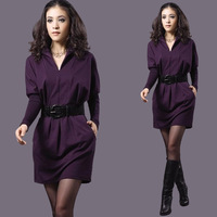 2013 autumn and winter fashion dress V-neck slim hip cotton knitted leather  waist tide