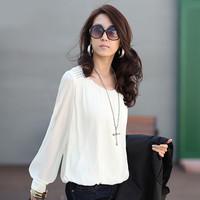 Women's autumn loose plus size long-sleeve chiffon shirt top basic shirt