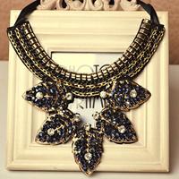 New Arrival Retro Vintage Necklaces Crystal Leaf Pendants Necklaces Statement Luxury Shourouk Necklace Free Shipping