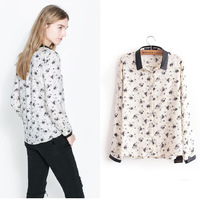 CS0598 Fashion vintage 2014 denim ink patchwork print casual long-sleeve Blouse floral print shirt european style women