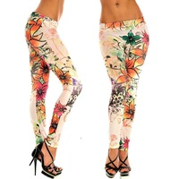 2014 Women Bauhinia Printed Leggings Pantyhose Color Painting Graffiti Pantyhose Thin Leggings Fashion Leggings FSL906