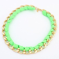 Accessories fashion chain multicolour bootjacks knitted short design necklace false collar neon color necklace
