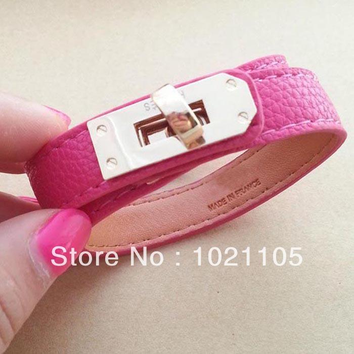 (5 pieces/lot) Mixed Color H Bracelet Couples Leather Bracelets PU Leather Wrap for Women(China (Mainland))