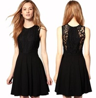 Fashion 2013 new black primer dress / chiffon / waist / thin / lace dress / halter / little black dress