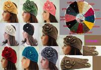 2013 New Wholesale Flower rhinestone Women Lady Headband Knit Crochet Headwrap Winter Ear Warmer,20 pcs/lot,Free Shipping