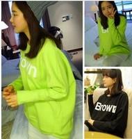 2013 autumn women's HARAJUKU neon bright color long-sleeve letter batwing sleeve o-neck sweatshirt female