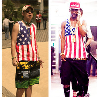 Big sean chris brown outcast vest national flag usa vest undershirt