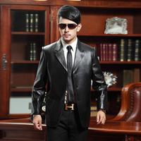 Genuine leather clothing male sheepskin genuine leather suit collar slim suit leather clothing fur