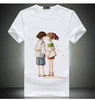Free Shipping Spirited Away Print White T Shirt Tops For Men & Women Miyazaki Hayao Short Shirt Japan Anime Hot Shirt Tees