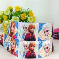 "Free shipping 50 yards 1""(25MM) frozen ribbon printed grosgrain ribbon 46600-XW-876-025"
