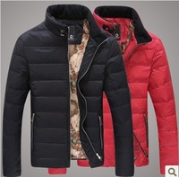 2013 men's autumn and winter clothing thin down coat stand collar slim down outerwear