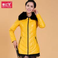 2013 clothing genuine leather sheepskin down coat fox fur slim leather women's medium-long down 6615