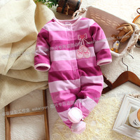 Spring and autumn female child crawling service baby rompers infant  purple stripe romper carter's baby clothes polar fleece