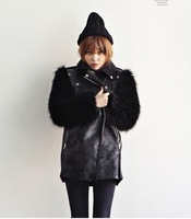 Fluffy long sleeve of leather, leather coat, the woman of the fur coat, fox, winter clothing, faux fur vest, new in 2013