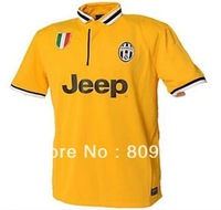 new 2013/14 Juventus away yellow PLAYER ISSUE soccer jersey soccer clothes free shipping Size: S - XL