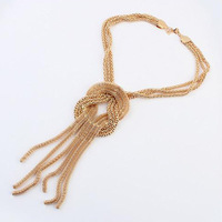 Fashion personality metal tassel necklace all-match vintage short design sweater decoration chain