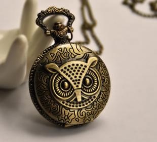 Free shipping Large owl pocket watch necklace vintage accessories fashion pocket watch necklace(China (Mainland))