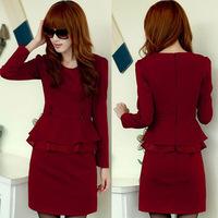 free shipping 2014 women autumn and winter slim ol elegant faux two piece dress long-sleeve ruffle plus size
