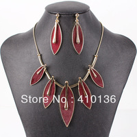 MS17535 Fashion Brand Jewelry Sets Red Necklace Set Bridal Jewelry Faux Leather Fur High Quality Party Gifts New Arrival