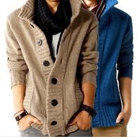 Free Shipping!fashion big lapel single-breasted men's sweater real wool cotton men's sweater men's coat wool coat cardigan man