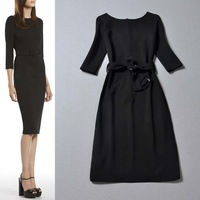 Free shipping in women in early spring 2014 the new Department of belt sleeve dress two color into W32629