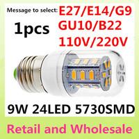 E27-9W -5730 SMD-24LED 1x Free Shipping+Waterproof LED Corn Light Bulbs Lamps E27 B22 G9 GU10 Warm White/White Home Lighting