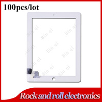 100PCS/LOT White For iPad 2 Touch Screen Digitizer Glass Panel Replacement No IC DHL Free