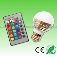 Popular! 1X3W RGB LED bulb 16 colors change with 24 key remote,Aluminum body E27 base,AC85-265V,1pcs free shipping!