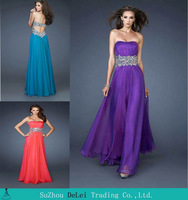 Strapless Beading Floor Evening Prom Dress 2014