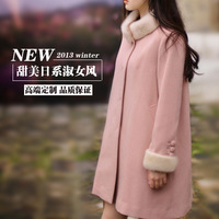 Winter thickening woolen outerwear sweet fur collar cloak overcoat loose mm plus size clothing