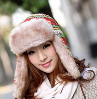 Safetying casual winter thickening lei feng cap cotton cap lacing ear protector cap print cap